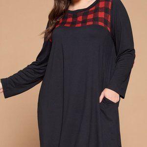 Black Tunic Dress with Buffalo Plaid Accents
